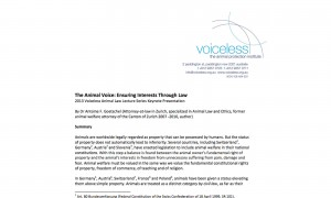 The Animal Voice: Ensuring Interests Through Law