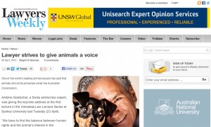 Lawyer strives to give animals a voice
