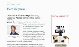 Antoine F. Goetschel International keynote speaker 2013 Voiceless Animal Law Lecture Series