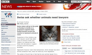 Swiss ask whether animals need lawyers