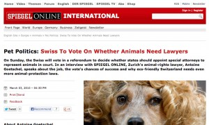 Swiss to vote on whether animals need lawyers